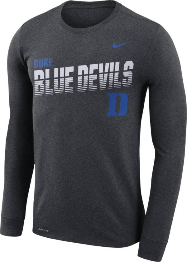 Nike Men's Duke Blue Devils Grey Legend Football Sideline Long Sleeve T-Shirt product image