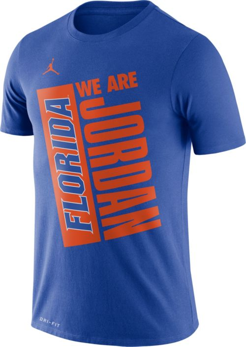 ecee2270f68022 Jordan Men s Florida Gators Blue Dri-FIT Performance Basketball T ...