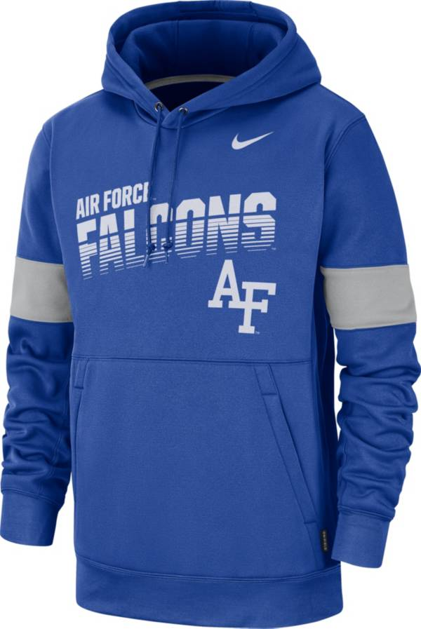Nike Men's Air Force Falcons Blue Therma Football Sideline Pullover Hoodie product image