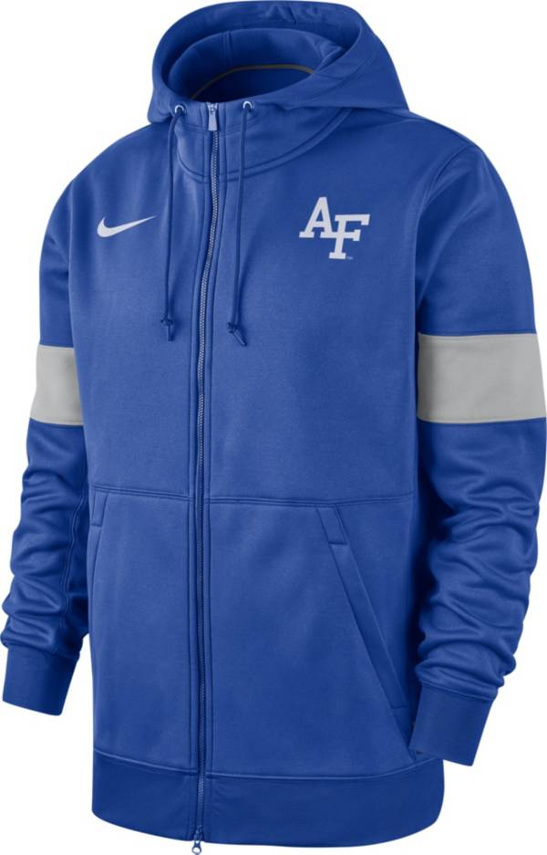 Nike Men's Air Force Falcons Blue Therma Football Sideline Full-Zip Hoodie product image