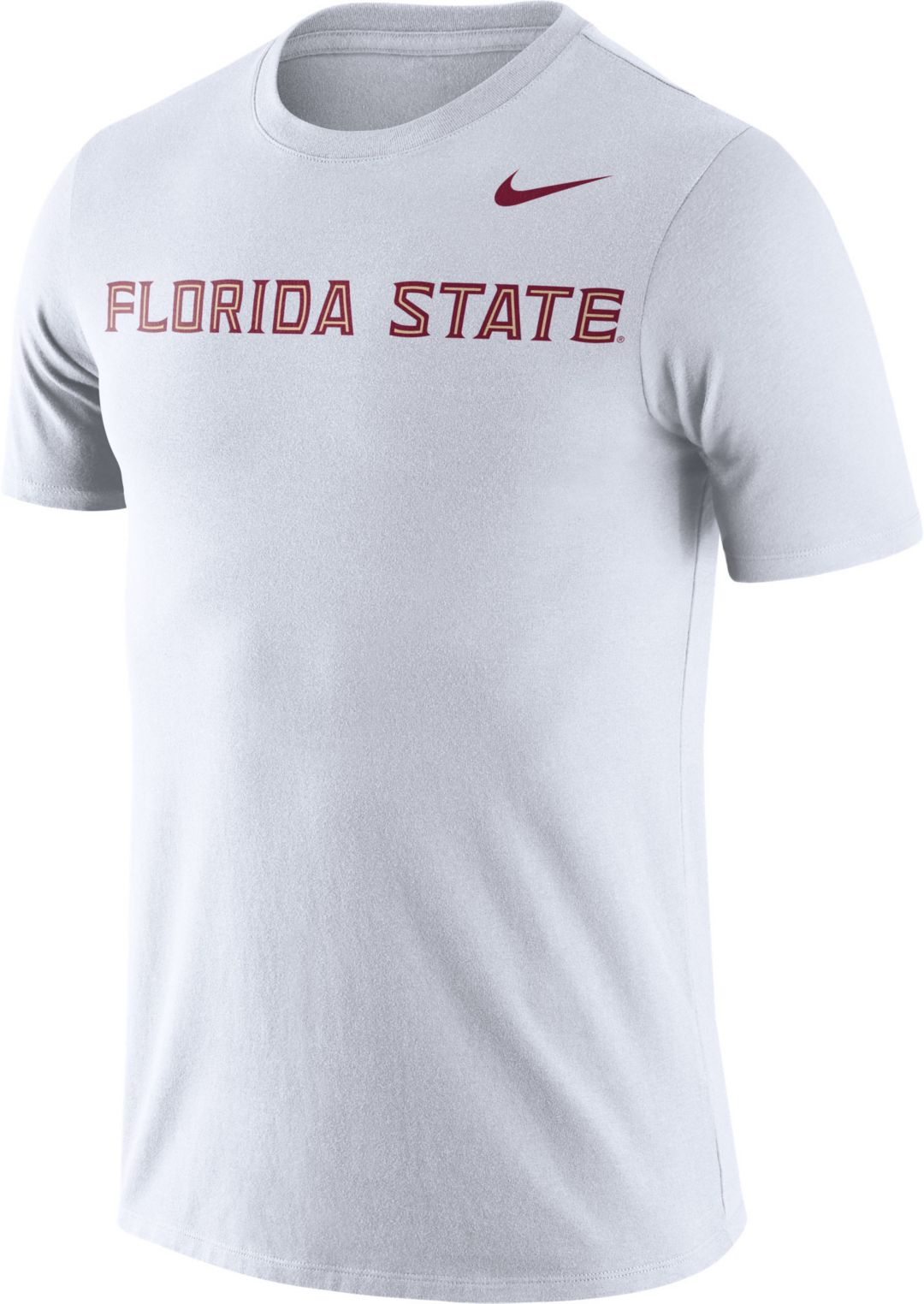 new styles ab70f 90e42 Nike Men's Florida State Seminoles Dri-FIT Cotton Word White T-Shirt