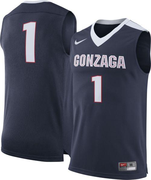 Nike Men S Gonzaga Bulldogs Blue 1 Replica Basketball Jersey