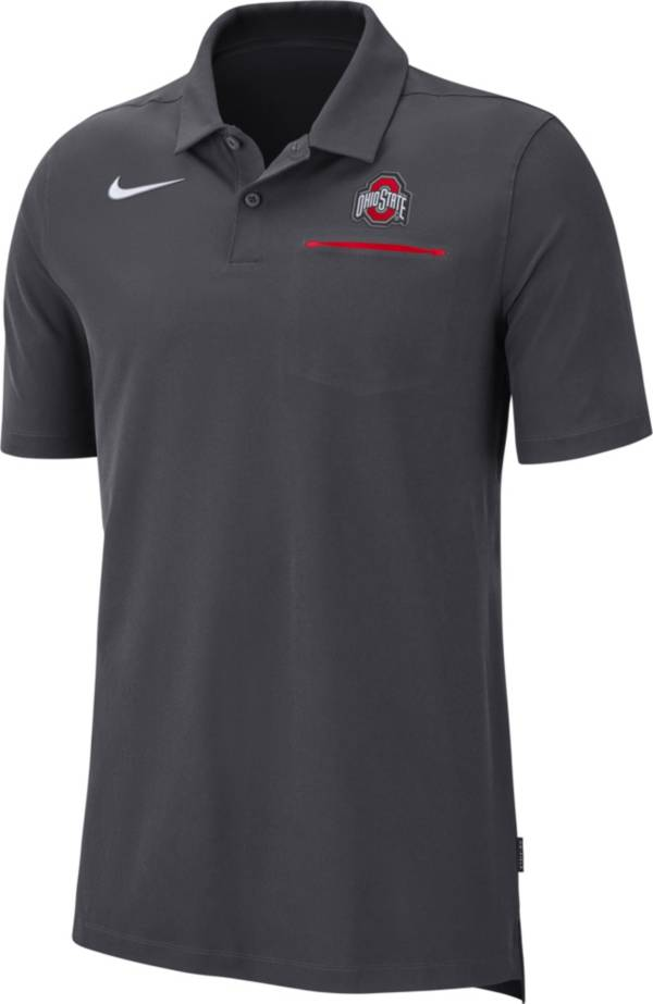 Nike Men's Ohio State Buckeyes Gray Dri-FIT Elite Football Sideline Polo product image
