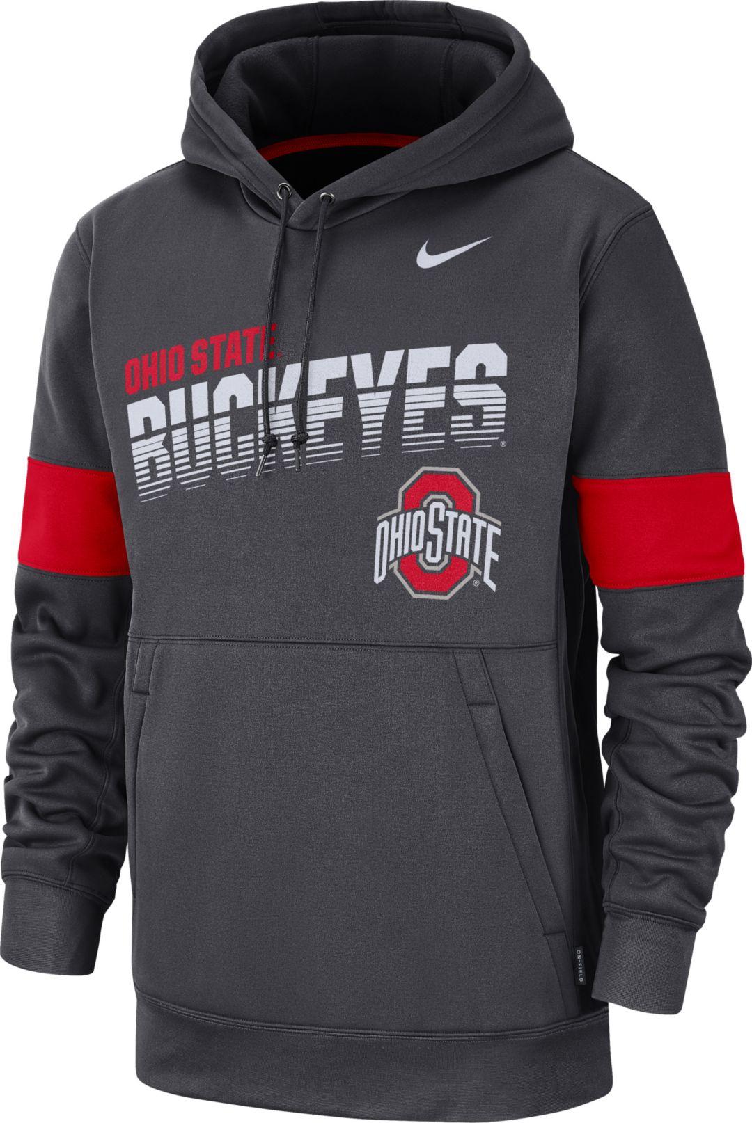 688066cd Nike Men's Ohio State Buckeyes Gray Therma Football Sideline Pullover Hoodie