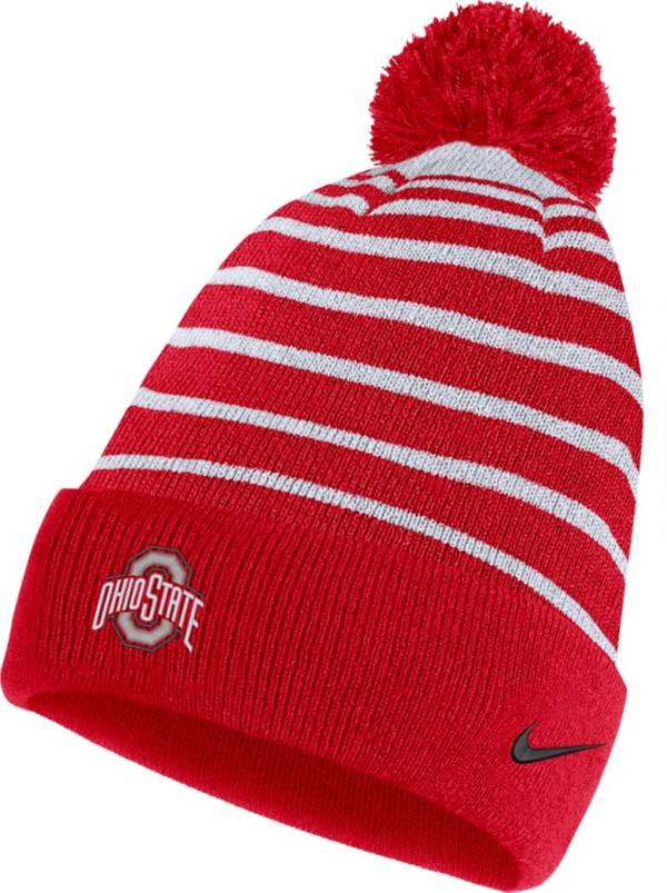 Nike Men's Ohio State Buckeyes Scarlet Football Sideline Cuffed Pom Beanie product image