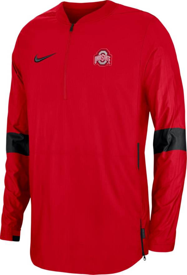 Nike Men's Ohio State Buckeyes Scarlet Lockdown Half-Zip Football Jacket product image