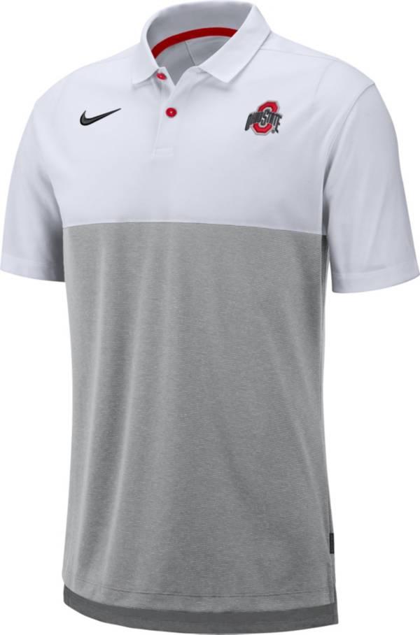 Nike Men's Ohio State Buckeyes White/Gray Dri-FIT Breathe Football Sideline Polo product image