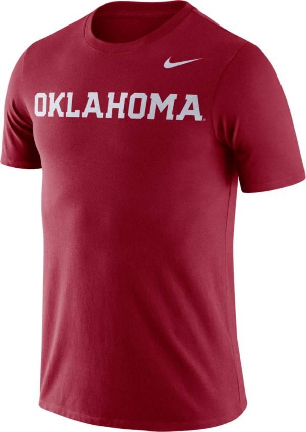 Nike Men's Oklahoma Sooners Crimson Dri-FIT Cotton Word T-Shirt product image