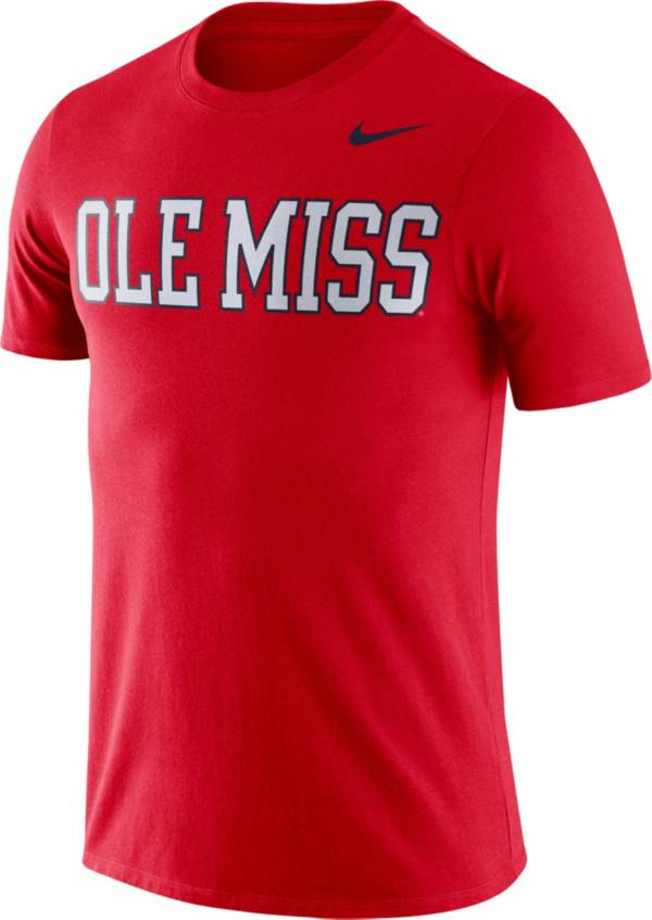 Nike Men's Ole Miss Rebels Red Dri-FIT Cotton Word T-Shirt product image