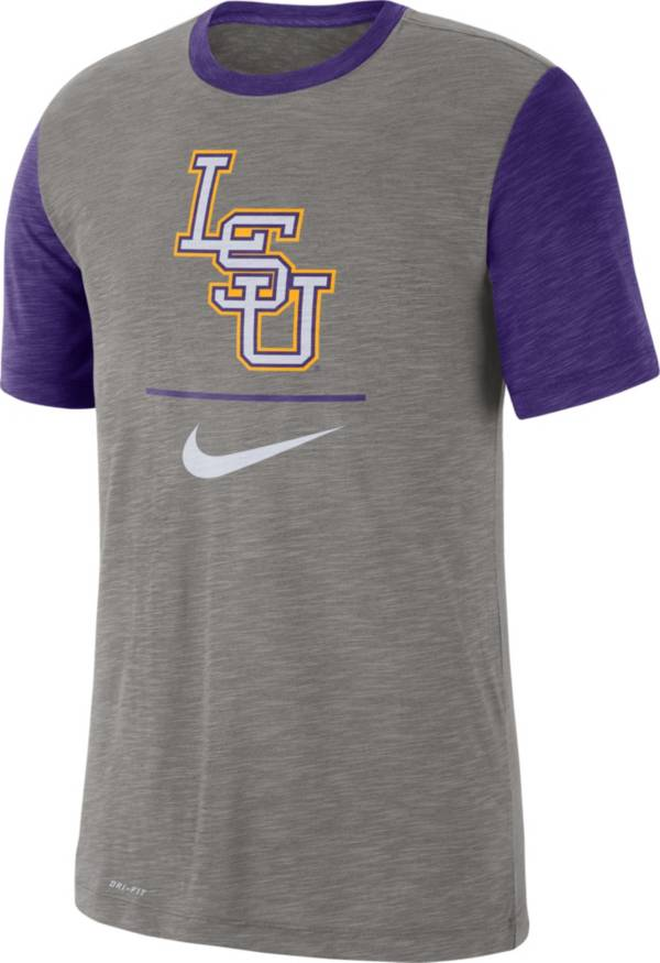 Nike Men's LSU Tigers Grey Dri-FIT Baseball Slub T-Shirt product image