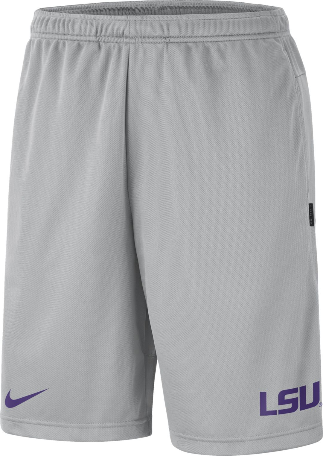 e32e2bf451bb0d Nike Men's LSU Tigers Grey Dri-FIT Coach Shorts | DICK'S Sporting Goods