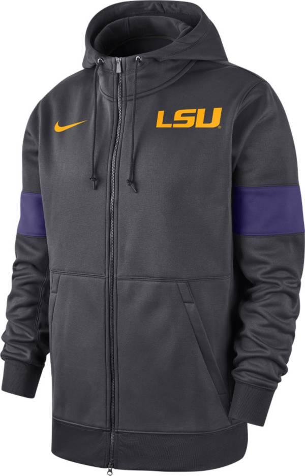 Nike Men's LSU Tigers Grey Therma Football Sideline Full-Zip Hoodie product image