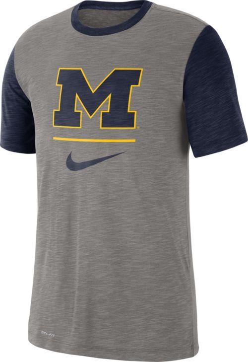 683b0ec0 Nike Men's Michigan Wolverines Grey Dri-FIT Baseball Slub T-Shirt.  noImageFound. Previous