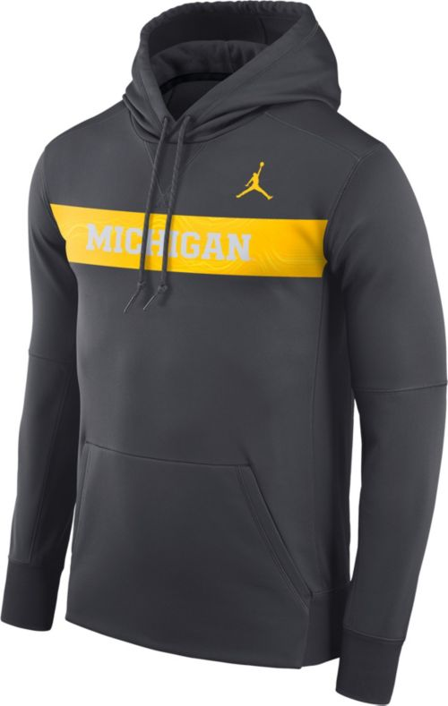 Jordan Men s Michigan Wolverines Anthracite Therma-FIT Pullover ... 1c26d756a