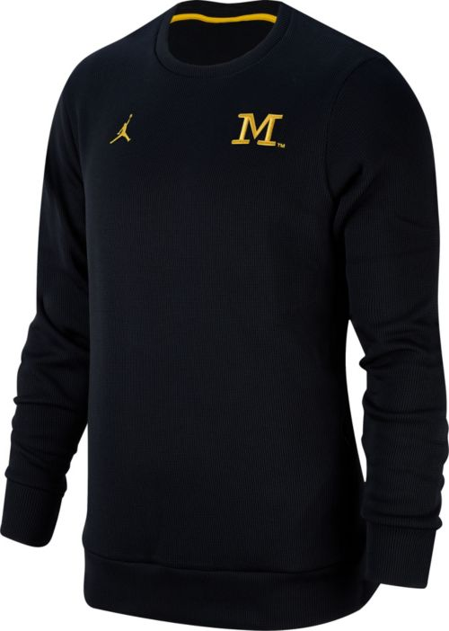 2ae73cacada853 Jordan Men s Michigan Wolverines Blue Crew Neck Skinny Long Sleeve Shirt.  noImageFound. Previous