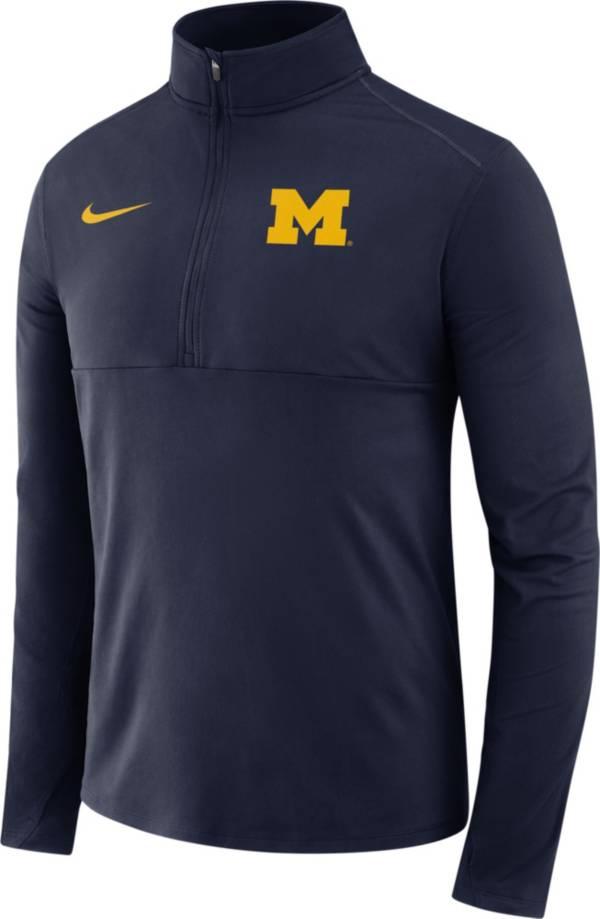 Nike Men's Michigan Wolverines Blue Long Sleeve Core Half-Zip Pullover Shirt product image