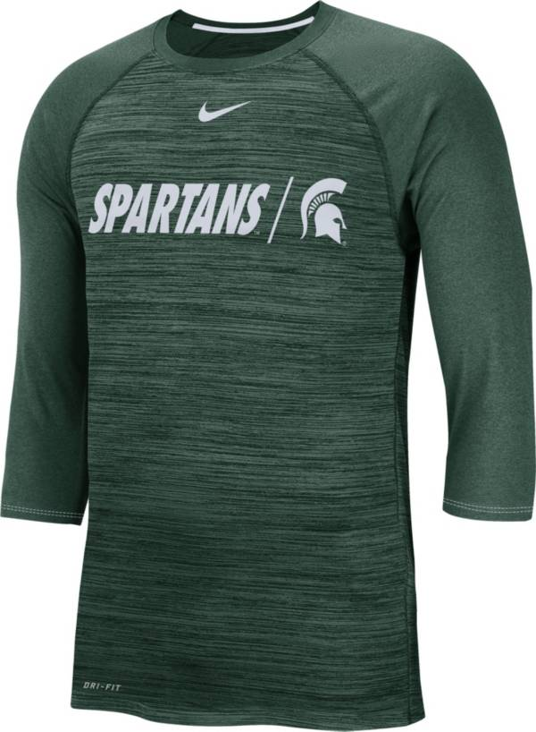 Nike Men's Michigan State Spartans Green Dry Legend 3/4 Sleeve T-Shirt product image