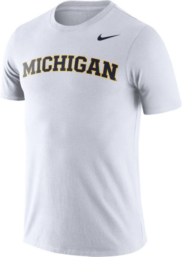 Nike Men's Michigan Wolverines Dri-FIT Cotton Word White T-Shirt product image
