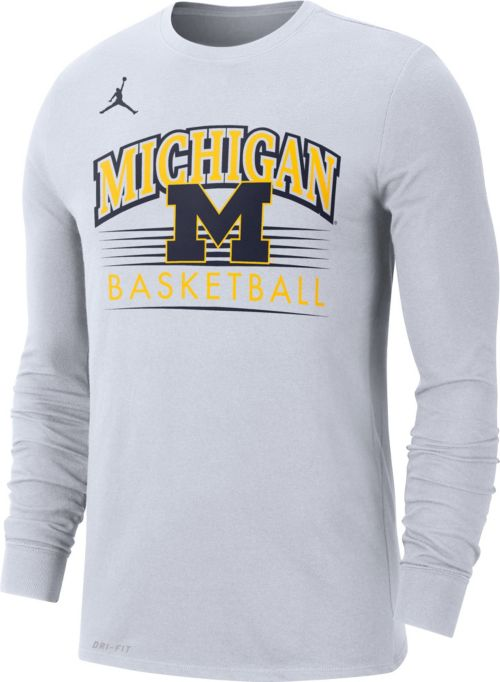 39bd2b8ba4c Jordan Men's Michigan Wolverines Dri-FIT Retro Long Sleeve Basketball White  T-Shirt. noImageFound. Previous