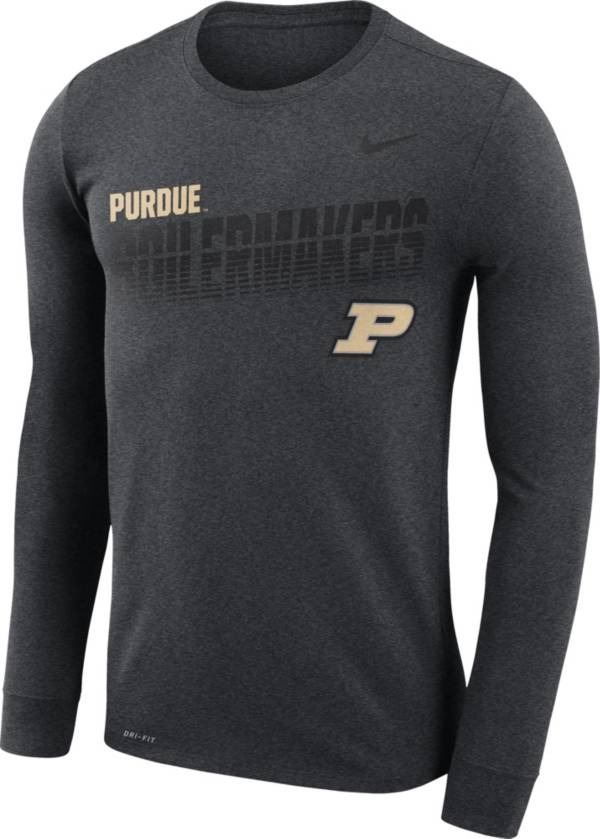 Nike Men's Purdue Boilermakers Grey Legend Football Sideline Long Sleeve T-Shirt product image