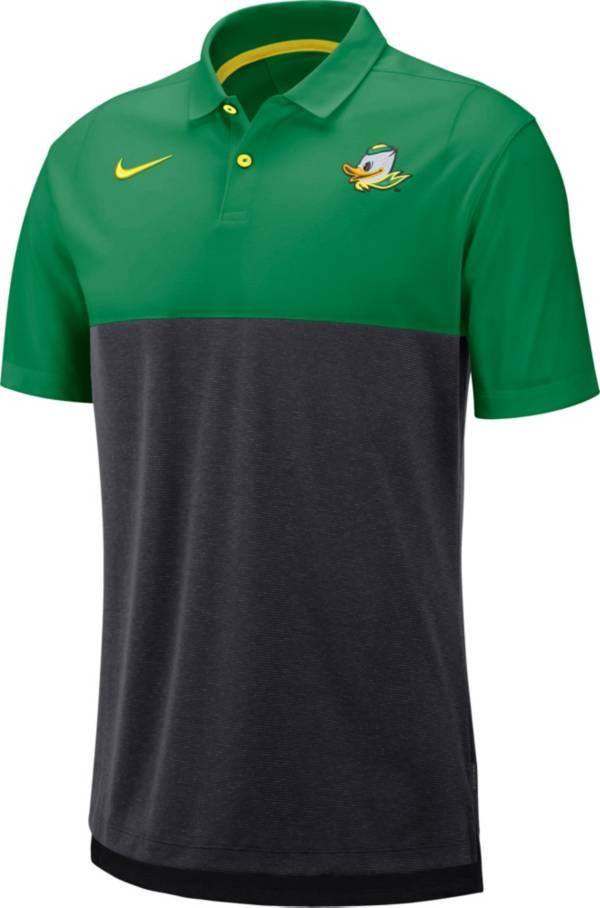 Nike Men's Oregon Ducks Green/Grey Dri-FIT Breathe Football Sideline Polo product image