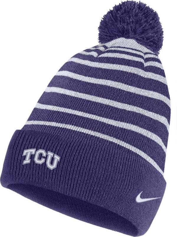 Nike Men's TCU Horned Frogs Purple Football Sideline Cuffed Pom Beanie product image