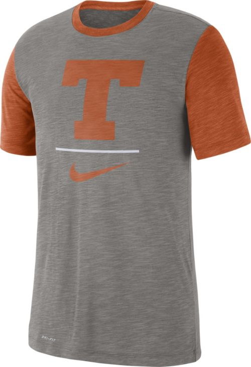 d2e84a813e86 Nike Men s Texas Longhorns Grey Dri-FIT Baseball Slub T-Shirt ...