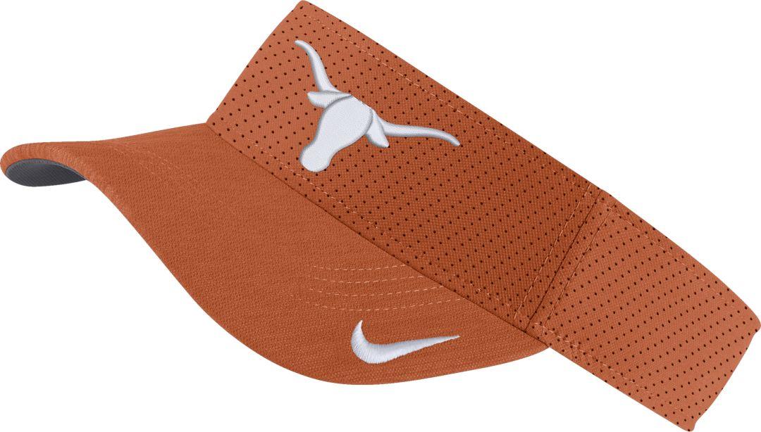 7feb41f697b6e Nike Men's Texas Longhorns Burnt Orange AeroBill Football Sideline Visor