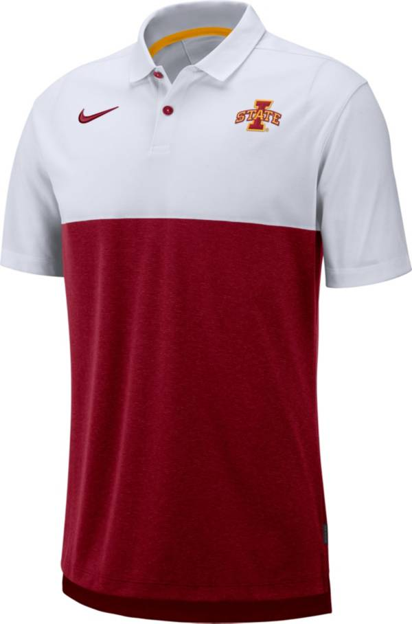 Nike Men's Iowa State Cyclones White/Cardinal Dri-FIT Breathe Football Sideline Polo product image