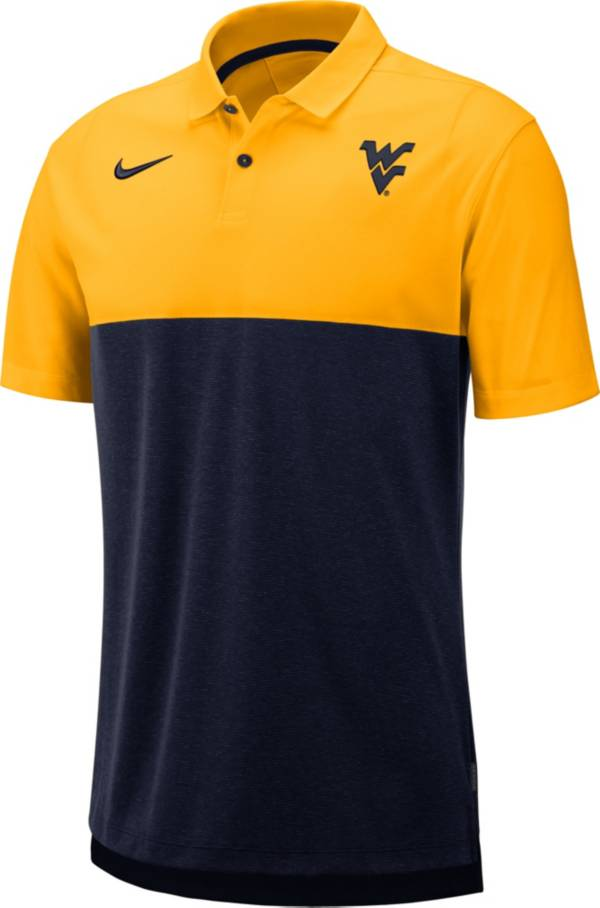 Nike Men's West Virginia Mountaineers Gold/Blue Dri-FIT Breathe Football Sideline Polo product image