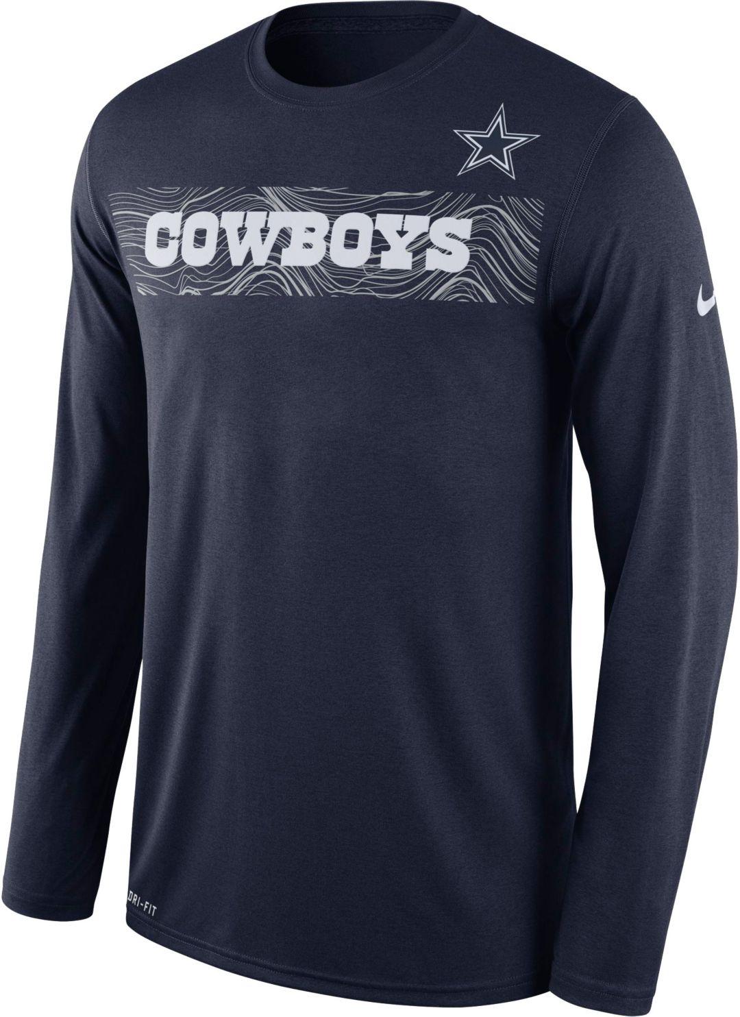 1355bb36fc6fa Nike Men's Dallas Cowboys Sideline Seismic Legend Performance Navy Long  Sleeve Shirt