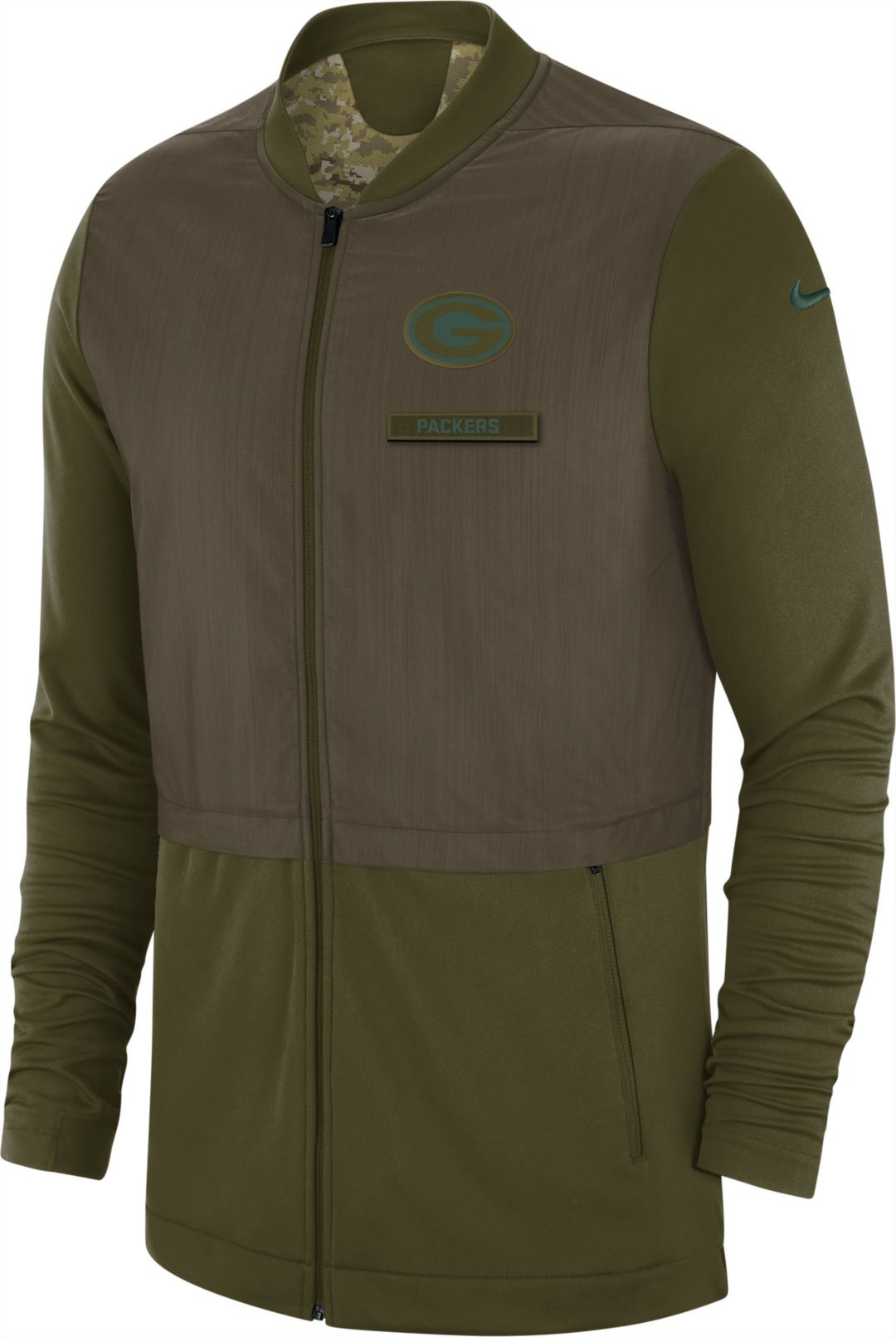 d4d39b623 Nike Men's Salute to Service Green Bay Packers Hybrid Full-Zip Jacket.  noImageFound. Previous. 1