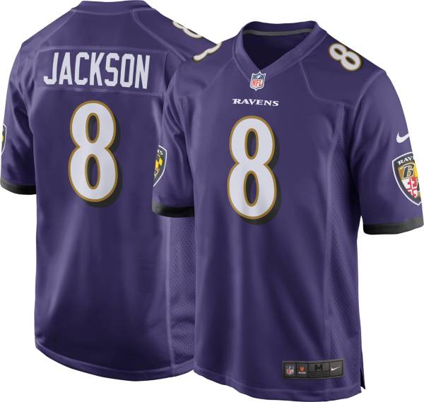 Nike Men S Baltimore Ravens Lamar Jackson 8 Purple Game Jersey Dick S Sporting Goods