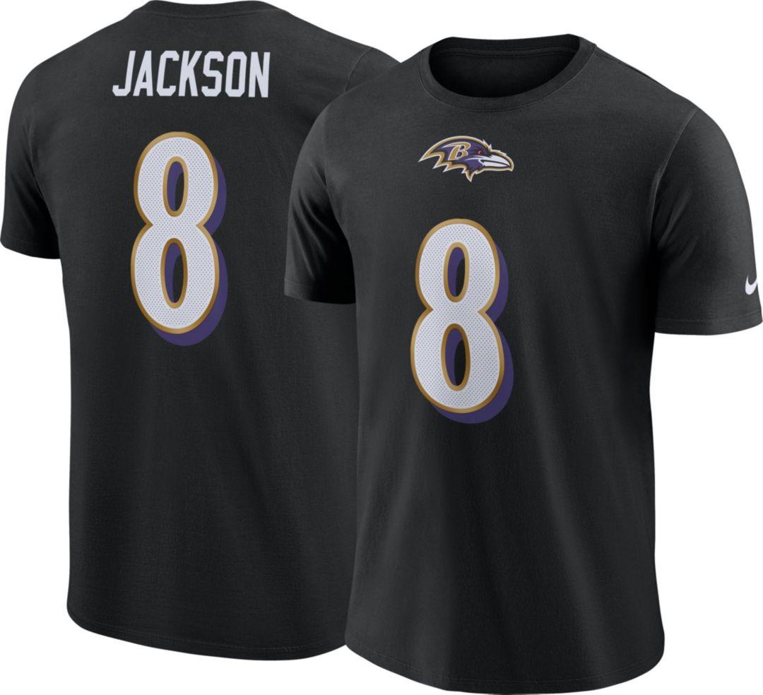 767531e034818 Nike Men's Baltimore Ravens Lamar Jackson #8 Pride Logo Black T-Shirt.  noImageFound. Previous