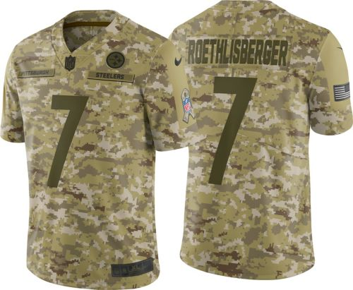 c98389329db Nike Men s Salute to Service Pittsburgh Steelers Ben Roethlisberger  7  Camouflage Limited Jersey. noImageFound. Previous
