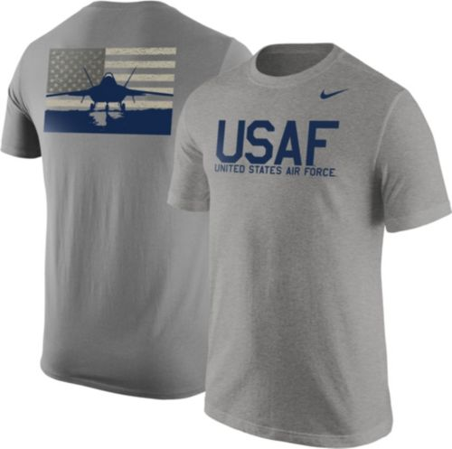 45ae9df5056 Nike United States Air Force Grey Fighter Jet Short Sleeve T-Shirt ...