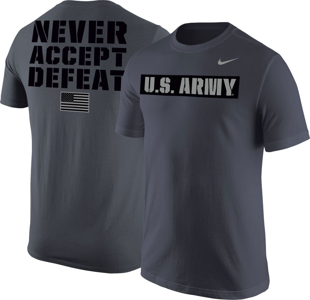 8f7bd8318 Nike United States Army Grey 'Never Accept Defeat' Short Sleeve T ...