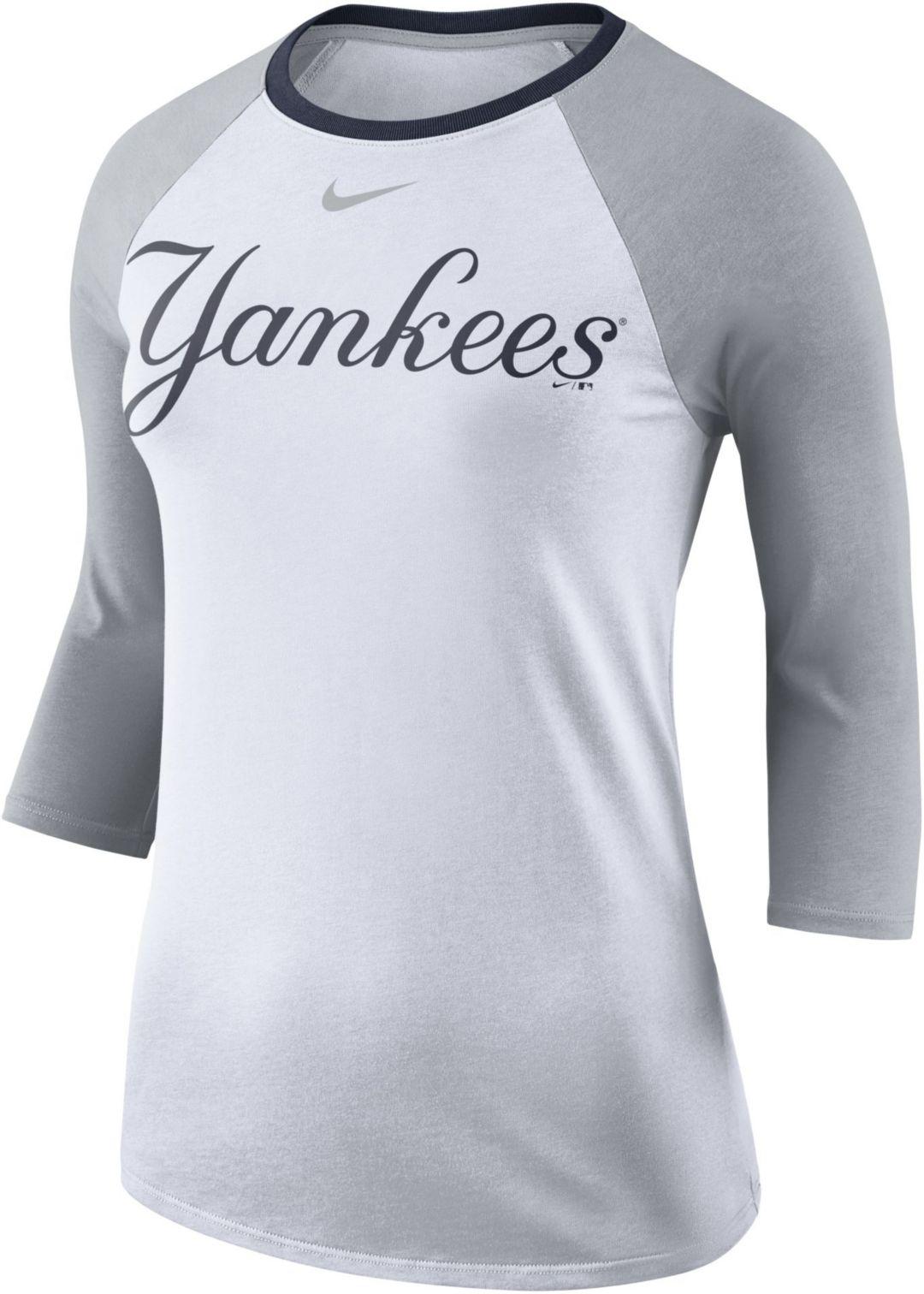 on sale b569f db444 Nike Women s New York Yankees Raglan Tri-Blend Three-Quarter Sleeve Shirt.  noImageFound. Previous
