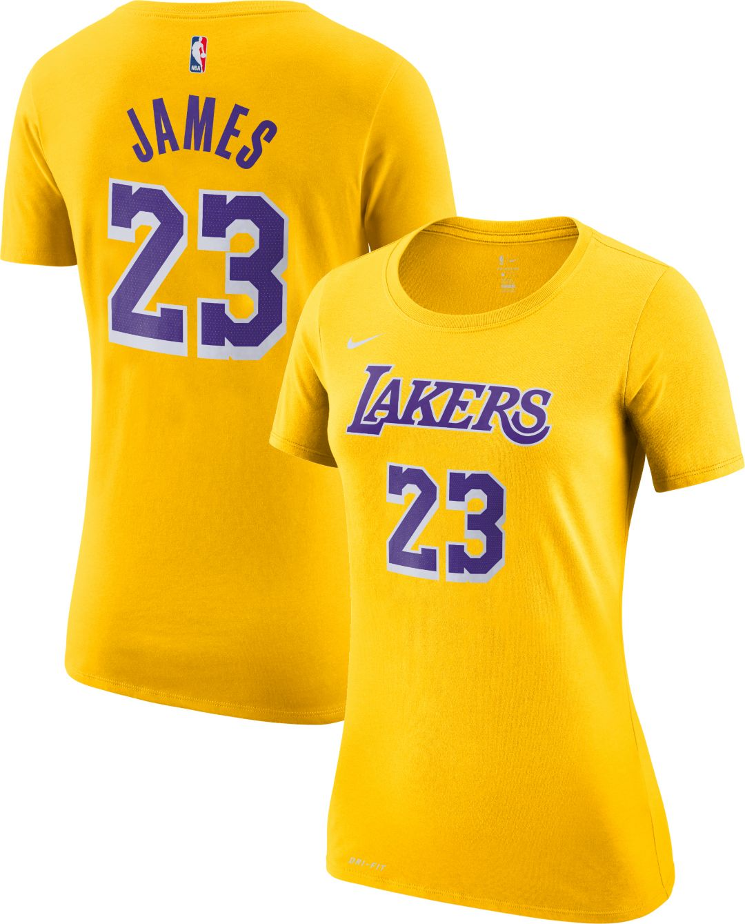 4f6704544 Nike Women's Los Angeles Lakers LeBron James Dri-FIT Gold T-Shirt