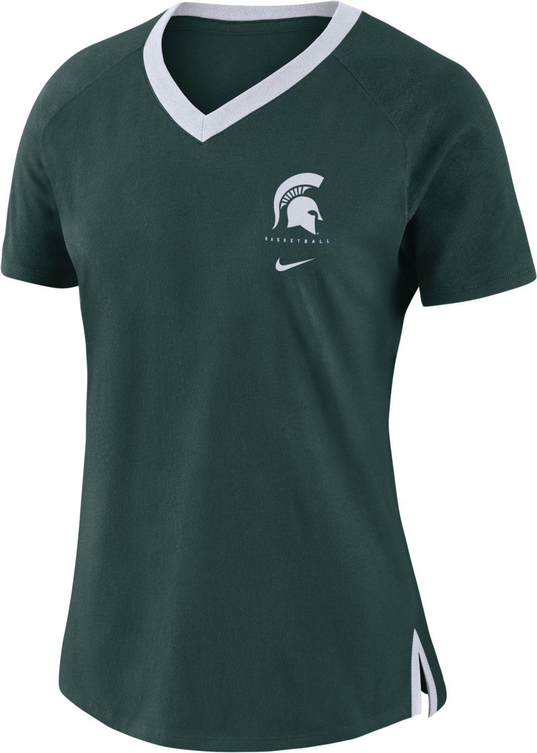sale retailer ced96 b8629 Nike Women's Michigan State Spartans Green Tri-Blend Basketball Fan T-Shirt