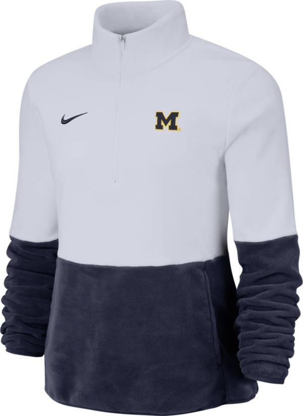 Nike Women's Michigan Wolverines Cozy Therma White Half-Zip Fleece product image