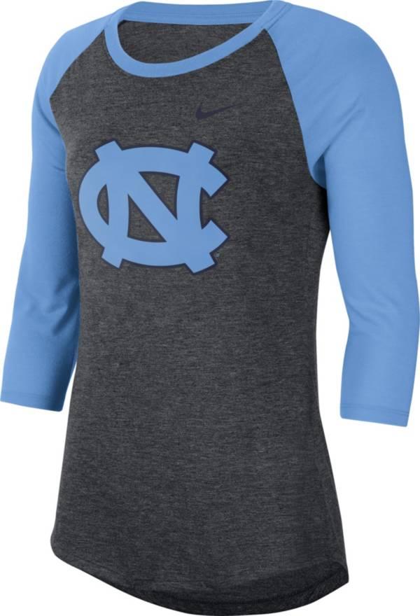Nike Women's North Carolina Tar Heels Grey Dri-FIT Raglan ¾ Sleeve T-Shirt product image