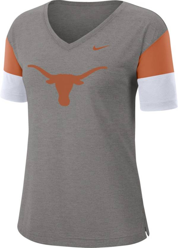 Nike Women's Texas Longhorns Grey Breathe V-Neck T-Shirt product image