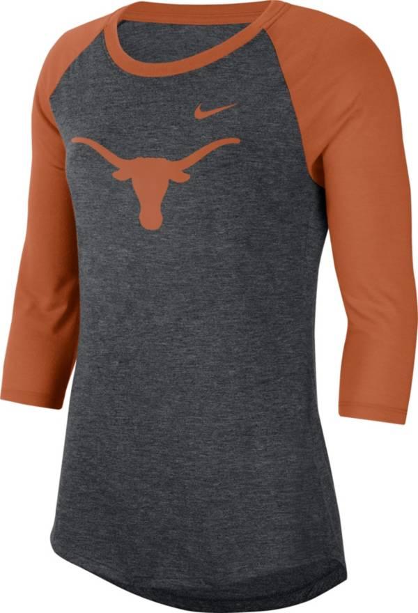 Nike Women's Texas Longhorns Grey Dri-FIT Raglan ¾ Sleeve T-Shirt product image