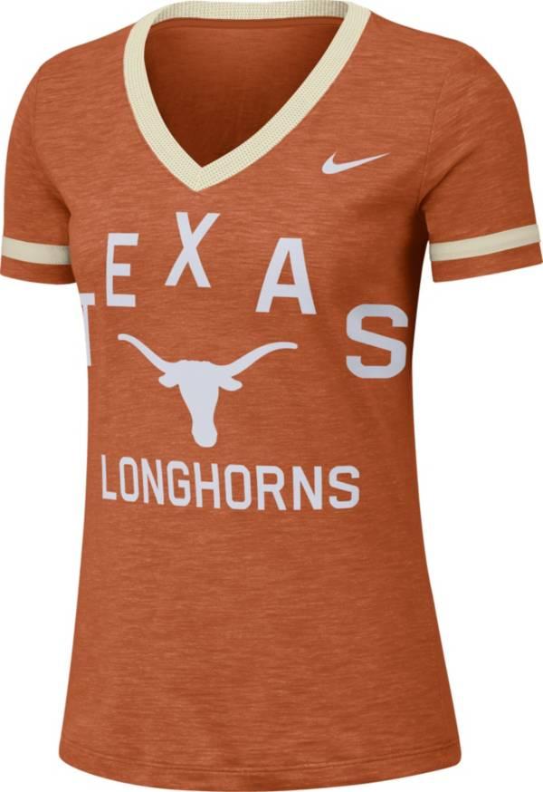 Nike Women's Texas Longhorns Burnt Orange Slub Fan V-Neck T-Shirt product image