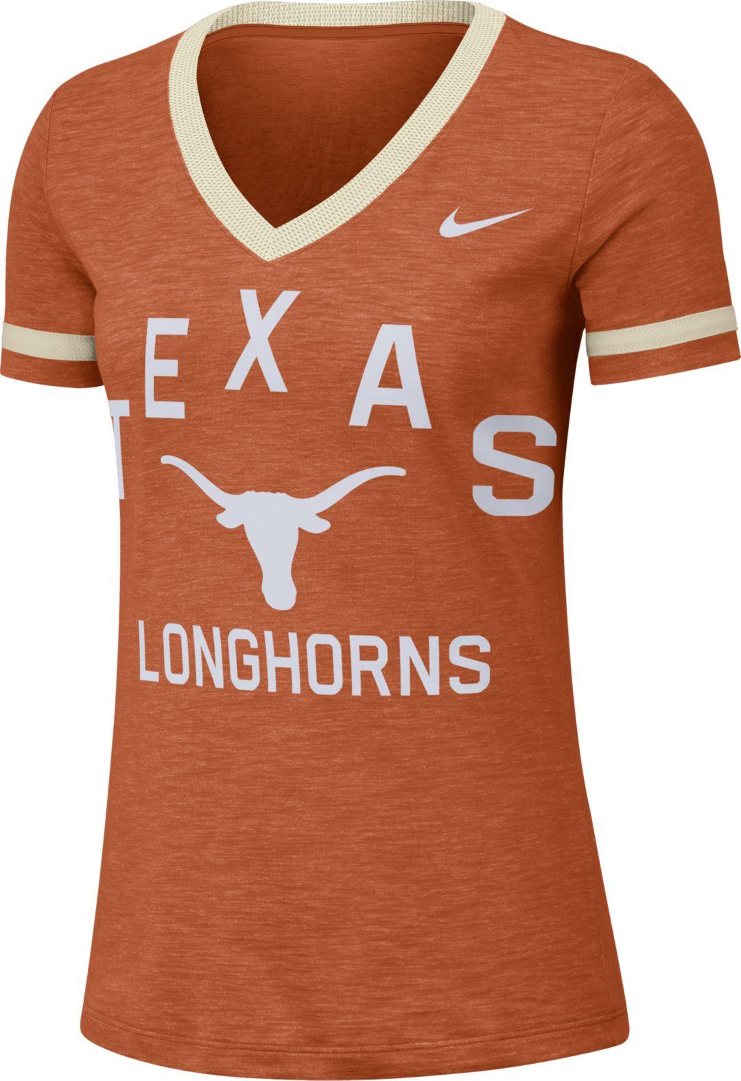 4fd29079 Nike Women's Texas Longhorns Burnt Orange Slub Fan V-Neck T-Shirt