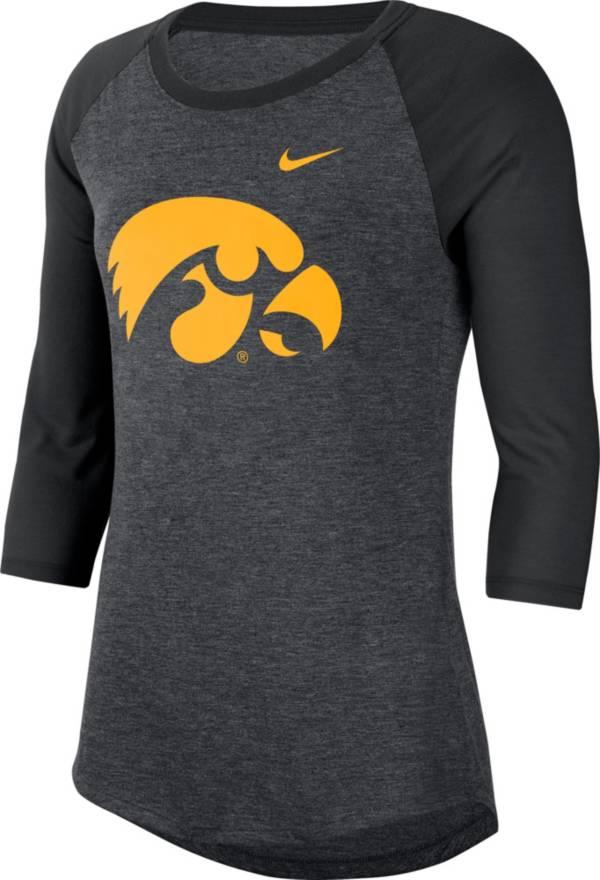 Nike Women's Iowa Hawkeyes Grey Dri-FIT Raglan ¾ Sleeve T-Shirt product image