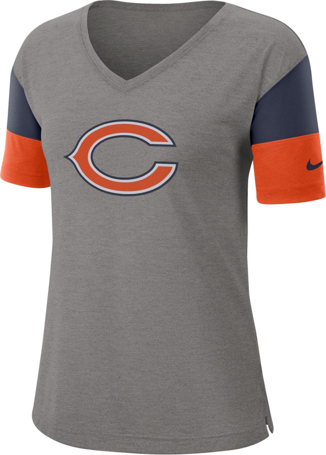 new style 7cccd f46be Nike Women's Chicago Bears Breathe Heather Grey V-Neck T-Shirt