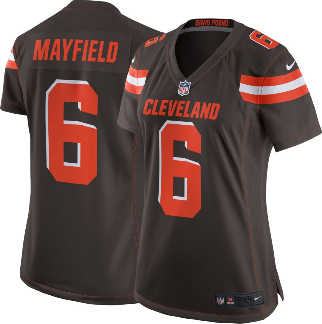 new product 14a5d ea453 Nike Women's Home Game Jersey Cleveland Browns Baker Mayfield #6