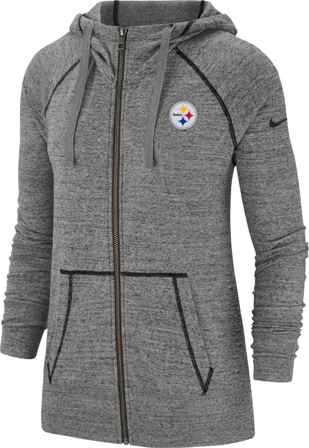 new product dbab4 ce08b Nike Women's Pittsburgh Steelers Vintage Grey Full-Zip Hoodie